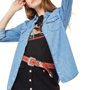 Topshop Gigi Fitted Western Denim Shirt